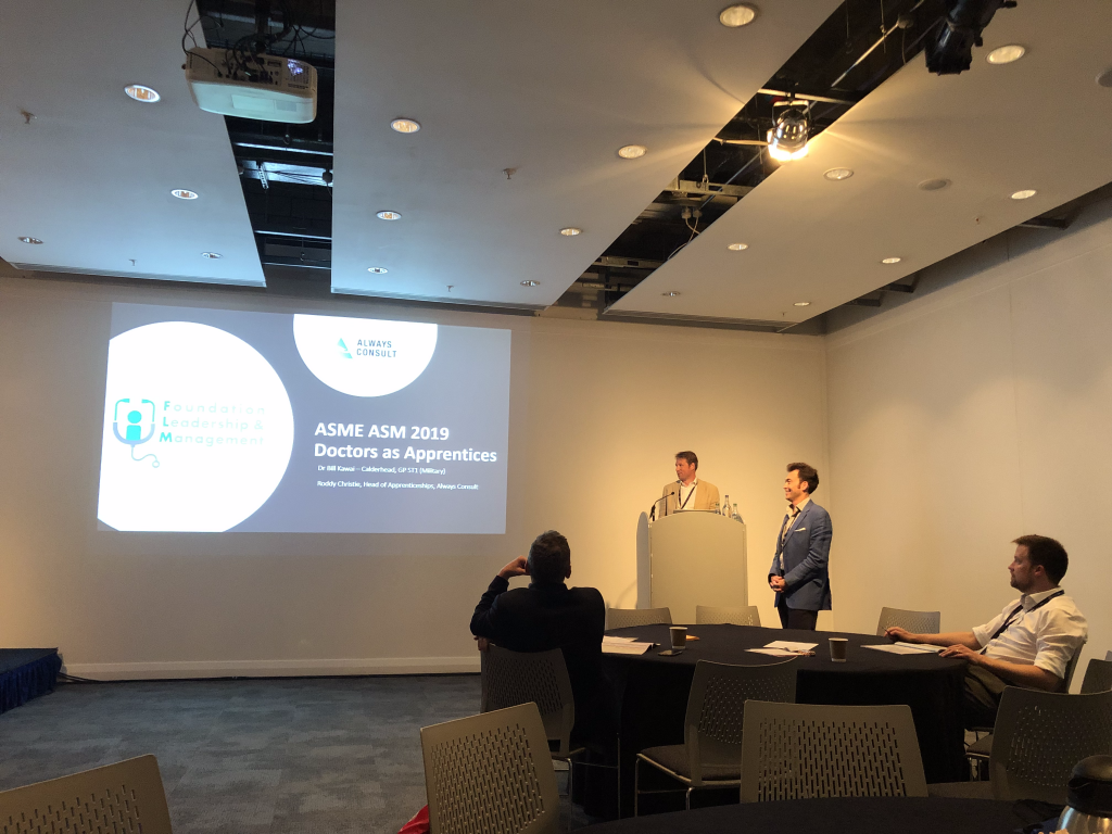Roddy Christie, Head of Apprenticeships at Always Consult and Dr Bill Kawai-Calderhead, Head of Clinical Leadership at Always Consult, presenting at the Association for the Study of Medical Education's Annual Conference in Glasgow.
